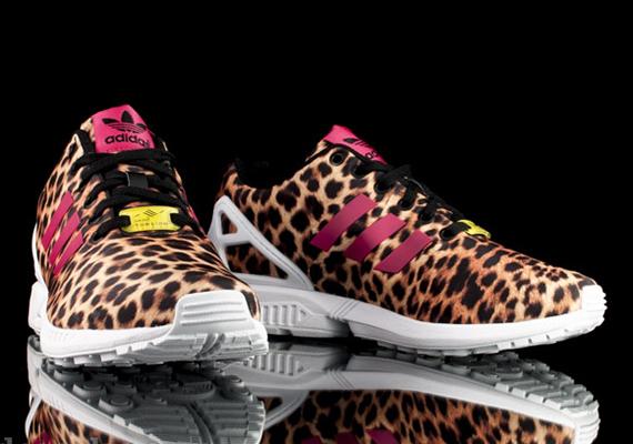 adidas zx flux leopard et rose