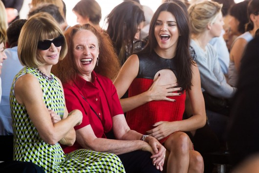 Anna Wintour, left, Grace Coddington and Kendall Jenner, right, attend the Calvin Klein Spring/Summer 2016 show during Fashion Week on Thursday, Sept. 17, 2015 in New York. (Photo by Charles Sykes/Invision/AP) ORG XMIT: NYCS102