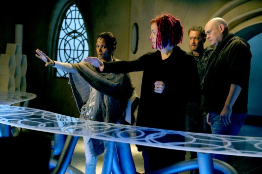 (L–r) HALLE BERRY, director LANA WACHOWSKI, TOM HANKS and director ANDY WACHOWSKI on set of the epic drama ÒCloud Atlas,Ó distributed domestically by Warner Bros. Pictures and in select international territories.