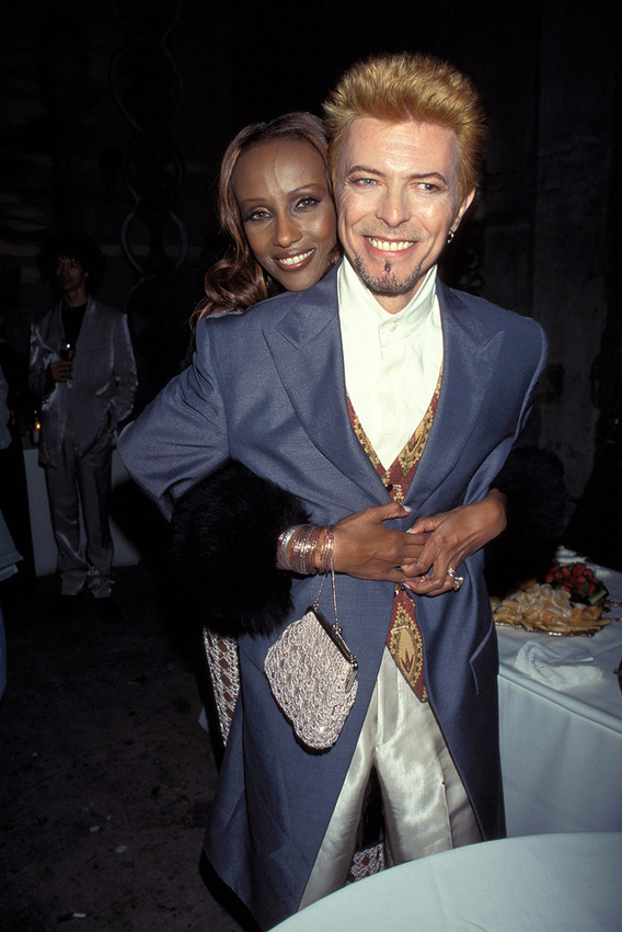 Iman and David Bowie during David Bowie's 50th Birthday Celebration Concert at Madison Square Garden in New York City, New York, United States. (Photo by KMazur/WireImage)