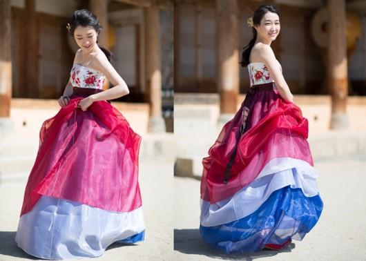 tricolor hanbok moderno