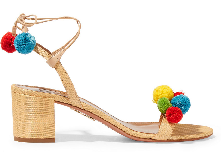 Aquazzura-Pompom-Embellished-Raffia-Sandals
