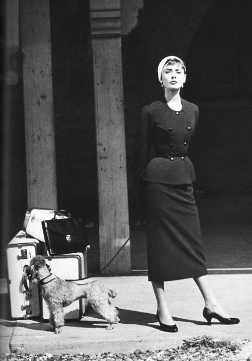 1954 gvenchy Audrey Hepburn + Sabrina + suit profile