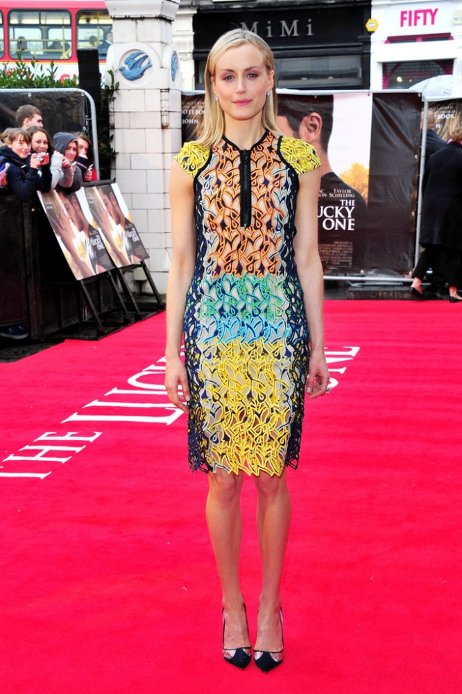 Taylor-Schilling-rocked-tropical-colored-Peter-Pilotto-dress