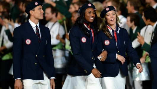 during the Opening Ceremony of the London 2012 Olympic Games at the Olympic Stadium on July 27, 2012 in London, England.