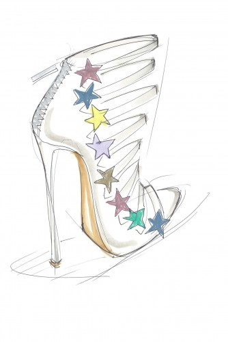 A sketch from Katy Perry's new footwear collection.