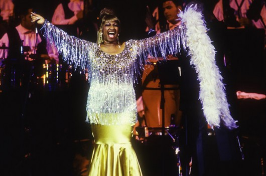 Cuban-American salsa singer Celia Cruz (1925 - 2003) performs at the JVC Jazz Festival concert 'Two Divas and a Lion' at Carnegie Hall, New York, New York, July 1, 1995. (Photo by Jack Vartoogian/Getty Images)