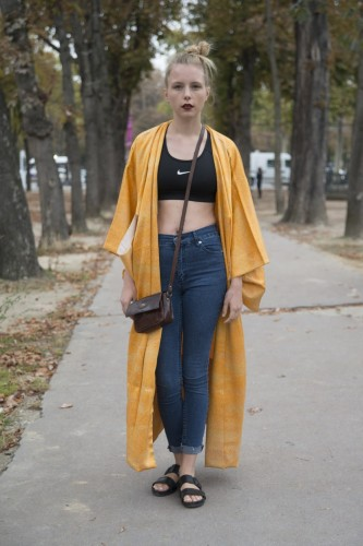 PARIS, FRANCE - SEPTEMBER 24: Fashion Blogger Marie Jenson is wearing Vagabond shoes, Weekday jeans, Nike top and vintage kimono on day 2 of Paris Collections: Women on September 24, 2014 in Paris, France.  (Photo by Kirstin Sinclair/Getty Images)