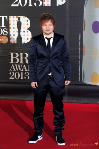 Singer Ed Sheeran seen arriving at the BRIT Awards 2013 at the o2 Arena on Wednesday, Feb. 20, 2013, in London.