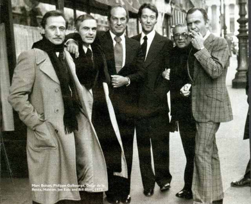 "Marc-Bohan-Philippe-Guibourge-Oscar-de-la-Renta-Halston-Joe-Eula-Bill-Blass-in-Paris-for-the-""Battle-of-Versailles""-in-1973"