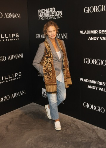 """NEW YORK, NY - SEPTEMBER 09: Actress Lauren Hutton attends the opening of """"Richard Hambleton: A Retrospective"""" at Phillips de Pury & Company on September 9, 2011 in New York City. (Photo by Bennett Raglin/Getty Images)"""