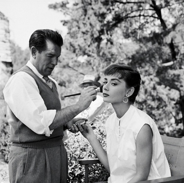 Audrey-Hepburn-with-make-up-artist-Wally-Westmore-on-the-set-of-Sabrina-1945